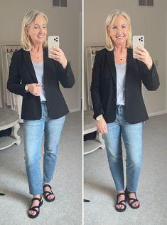 Talbots, fashion, summer trends, jeans, blazers, casual chic Fall Fashion Trends, Autumn Fashion, Fashion Ideas, Blazer And T Shirt, Fall Wardrobe Essentials, Cropped Chinos, 21st Dresses, Linen Blazer, Blazer Buttons