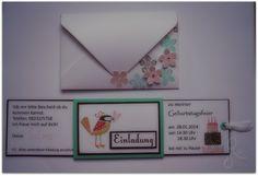 Slider card, Einladung zum Kindergeburtstag, Stampin' Up! mit passendem Umschlag, Envelope Punch Board, invitation card for children's birthday party; Anna's Bastelglanz