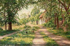 Johan Krouthén (1859-1932): Summer landscape with windmill, 1916