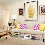 Lauren Nelson Design: Chic living room with pale, pale pink wall spaint color, mushroom linen curved arm sofa, . Cream Living Rooms, Chic Living Room, Living Spaces, Lucite Coffee Tables, Room Of One's Own, Apartment Living, Home Decor Inspiration, Home Furniture, Room Decor