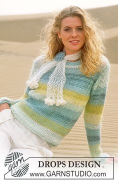 DROPS Pullover in Alpaca and Vivaldi, Crocheted flower in Alpaca and Scarf in Vivaldi ~ DROPS Design Knitting Patterns Free, Free Knitting, Free Pattern, Crochet Patterns, Drops Design, Pull Crochet, Knit Crochet, Magazine Drops, Summer Knitting