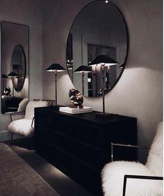 Wohnung Einrichten ideen - Don't like how dark it is, but love the whole minimal dresser set up - mirro. Dark Living Rooms, Home And Living, Living Room Decor, Modern Living, Dresser Sets, Dresser Mirror, Mirror Set, Minimal Decor, Home Interior Design