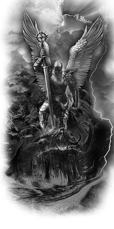 Archangel Michael defeats the Devil, Archangel Michael defeats the Devil, Angel Tattoo Designs, Tattoo Sleeve Designs, Tattoo Designs Men, Archangel Michael Tattoo, St Michael Tattoo, Michael Angelo Tattoo, Angel Warrior Tattoo, Warrior Tattoos, Templar Knight Tattoo