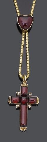 A mid 19th century garnet pendant necklace, circa 1840. The cabochon-cut garnet Latin cross, with single-cut diamond highlights, suspended from a gold snake-link chain with a heart-shaped cabochon garnet slide, length 44.0cm., fitted case.
