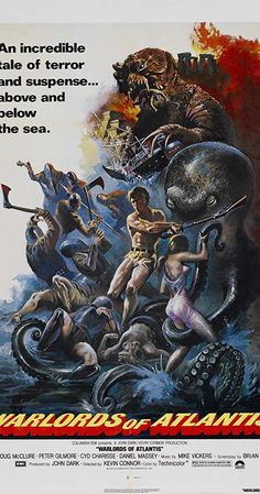 Directed by Kevin Connor. With Doug McClure, Peter Gilmore, Shane Rimmer, Lea Brodie. Searching for the lost world of Atlantis, Prof. Aitken, his son Charles and Greg Collinson are betrayed by the crew of their expedition's ship, attracted by the fabulous treasures of Atlantis. The diving bell destroyed, a deep sea monster attacks the boat. They are all dragged to the bottom of the sea where they meet the inhabitants of the lost continent, an advance alien race makes slaves of the...