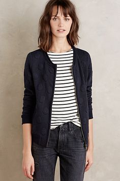 Dotted Darcy Jacket #anthropologie - Love this jacket!! Especially with the stripes underneath