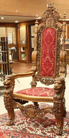 Renaissance Revival throne chair