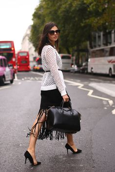fringed midi skirt #black #chic