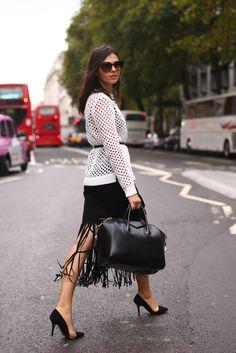 fringed midi skirt #black #chic