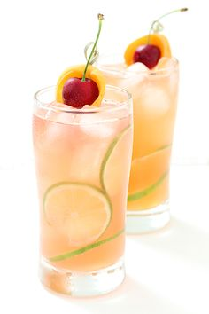 Apricot and cherry breezer. Great summer rum drink.