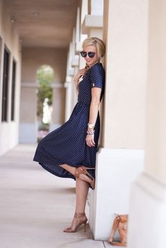 navy dress and camel heels