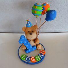 Custom Teddy Bear Cake Topper for Birthday or Baby by carlyace, $16.95