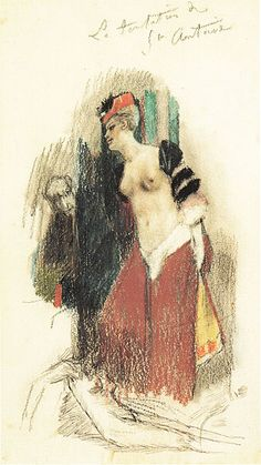 A1041   Félicien Rops   Temptation of St Anthony   Drawing; study for A36   Pencil and crayon on paper 20 x 12 cm   Galerie Maurice Keilerman   Brussels, Belgium