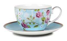 Pip Studio Chinese rose teacup and saucer - blue