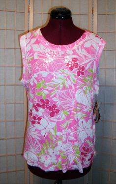 New WT JPR Bag G Age Sz 1X Pink & Green Floral Sequined Stretch Knit Top   #JPRBagGAge #KnitTop