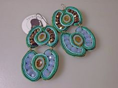 Large Green Soutache Earrings with Bronze Blue and by tyramade, $50.00