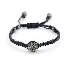 Shamballa Inspired Black Crystal and Macrame Bracelet