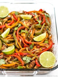 """These Easy Oven Fajitas are a simple """"set it and forget it"""" way to get that smoky sweet flavor of traditional griddle fajitas. Step by step photos. Mexican Food Recipes, Diet Recipes, Chicken Recipes, Cooking Recipes, Healthy Recipes, Turkey Recipes, Fajita Seasoning Mix, Fajita Mix, Easy Oven Baked Chicken"""