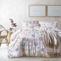 Floral Charm Design Comforter Set | EBeddingSets Cotton Bedding Sets, Bed Linen Sets, Comforter Sets, Linen Bedding, Cheap Quilts, Egyptian Cotton Bedding, Luxury Bedding Sets, Quilt Cover Sets, Flat Sheets