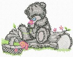 Teddy Bear with basket of flowers machine embroidery design. Machine embroidery design. www.embroideres.com