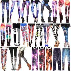 Sexy Women's Galaxy Leggings Printed Cosmic Space Tie Dye Tights Pants