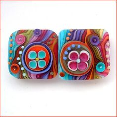 Michal S- Woodstock Flowers- Lampwork nugget bead set (2) FREE SHIPPING