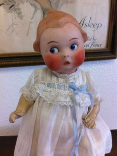 Darling Antique Vintage Heubach German Bisque Googly Doll