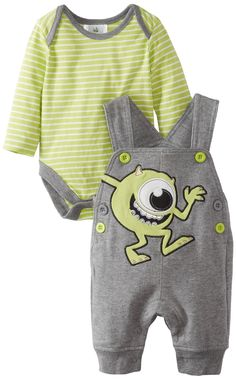 Disney Baby Baby-Boys Newborn 2 Piece Overall Set, Grey/Green, 0-3 Months