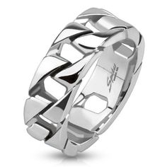 Cuban Link Chain Men's Ring Stainless Steel