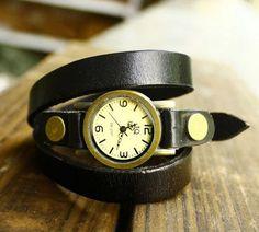 Fashion black leather bracelet watchrivet by luckystargift on Etsy, $12.98