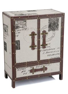 French Inspired - Linen Covered Wooden Cabinet-Linen / Leather