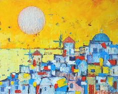 Abstract Santorini - Oia Before Sunset Painting by Ana Maria Edulescu