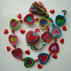 lovely crochet hearts
