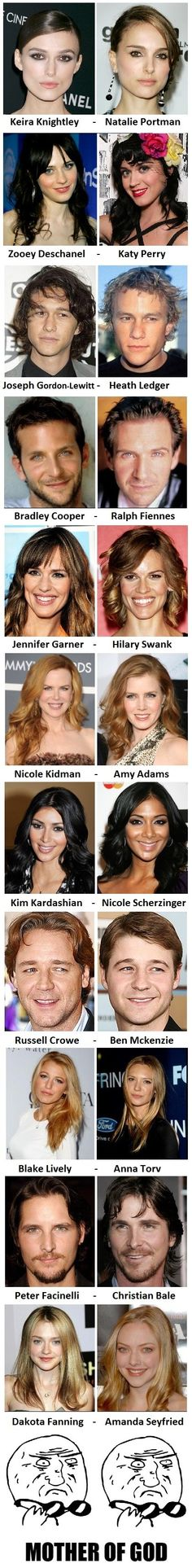 "I've noticed this about all of them except for Nicole and Amy--Isla Fisher looks much more like Amy Adams than Nicole Kidman does! Especially in ""Wedding Crashers"""