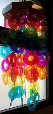 pretty DIY suncatcher made from recycled plastic cups!  super cute idea!