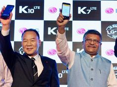 Union Minister of Communications & Information Technology Ravi Shankar Prasad with  Telecom Secretary J S Deepak and  Managing director, LG Electronics India, Kim Ki Wan, at the launch of LG's first made in India mobile phones K7 & K10 in New