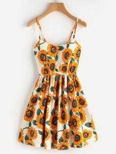 Sunflower Print Random Lace Up Back A Line Cami Dress Mobile Site