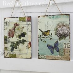 Bird & Flower Vintage Wooden Pictures - Pair