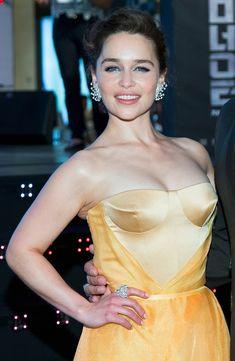 Emilia Clarke in Ulyana Sergeenko Couture at the South Korea premiere of Terminator Genisys on July 2, 2015