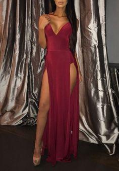 Red Plain Side Slit Plunging Neckline Party Cotton Maxi Dress