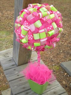 Ribbon Topiary Hot Pink Lime Green Perfect by TangledRibbonParties, $20.00