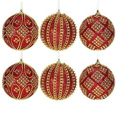 Red Gold Harlequin Ball Ornaments 4 Inches Set By Mark Roberts