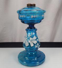 Antique Enameled Blue Glass Kerosene Oil Lamp 45001