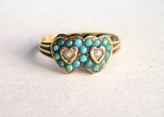 Hallmarked 1848 Turquoise & Pearl Double Heart Gold Ring #victorian #jewelry