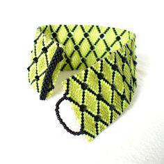 Lime Green / Black Peyote Bracelet - Beadwoven Bracelet with Swarovski Crystals - Chartreuse / Black Geometric Beaded Cuff - Etsy UK Seller