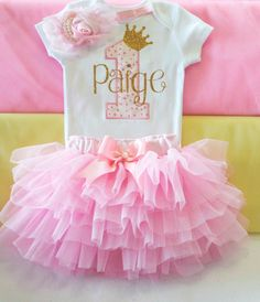First Princess Birthday outfitPink princess by KidsFunLand on Etsy