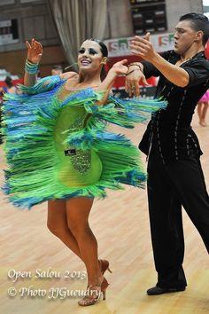 blue yellow green latin fringe dress competition couple