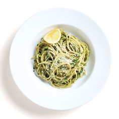Ramp Pesto Spaghetti. Ramps—RAMPS!—are in season, people. For how long? Weeks, at best. Which is clearly not long enough dream up inventive ways to cook with them. Relax. Our Test Kitchen has done the heavy lifting, cleverly puréeing the fragrant alliums (greens and all) into a deeply-flavored pesto sauce that's so good, you'll  wish you could eat it every night. But you can't, so make it now. Garlicky, pungent ramps set off pesto pyrotechnics.