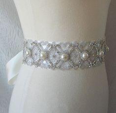 Pearl and Rhinestone Bridal Sash Wedding Belt by TheRedMagnolia