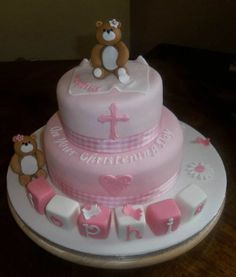 - Pink christening cake,complete with teddies xsx